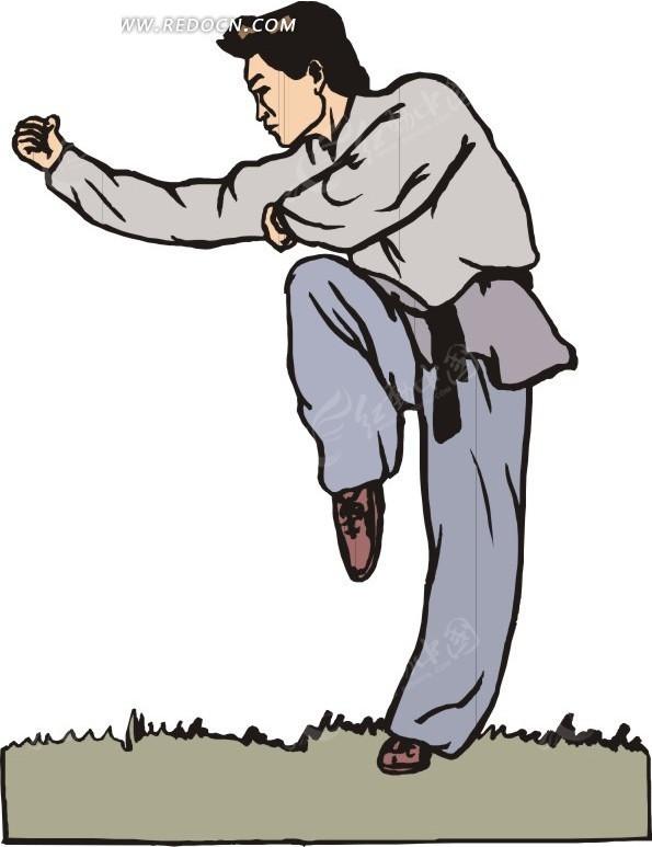 手绘插画练习拳脚功夫的人矢量图_体育运动
