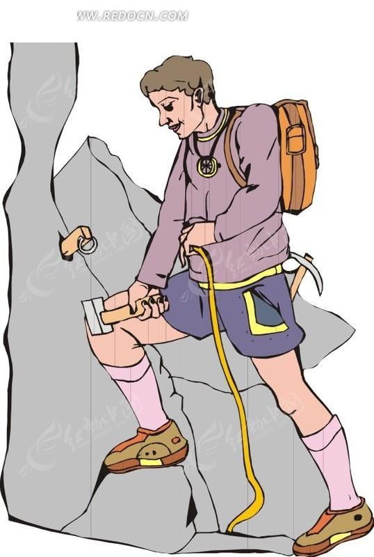 手绘一个登山爱好者