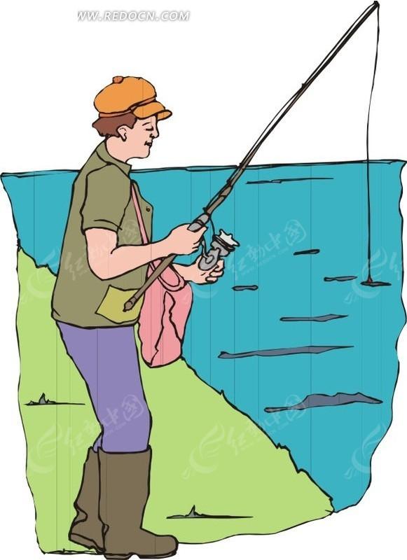 钓鱼 卡通画 插画 手绘 矢量素材 人物图片 卡通形象  生活百科