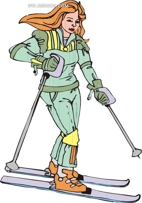 卡通滑雪的女人