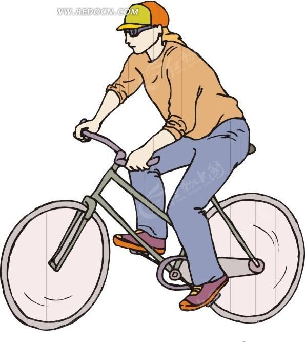 手绘骑着自行车的美女矢量图