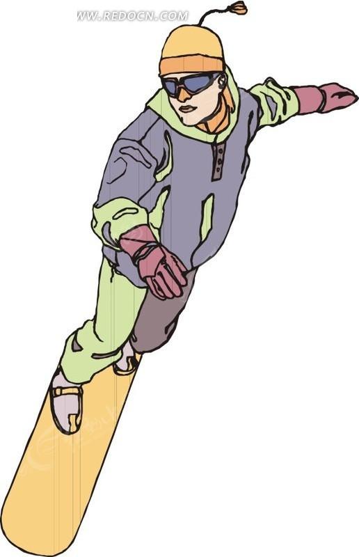手绘戴着帽子滑雪的人矢量图_体育运动
