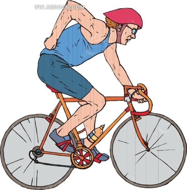 手绘骑自行车的男人矢量图