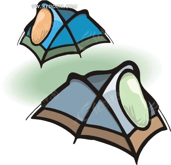 两个手绘帐篷 手绘 帐篷 eps素材 矢量 矢量素材 插画 卡通  生活百科