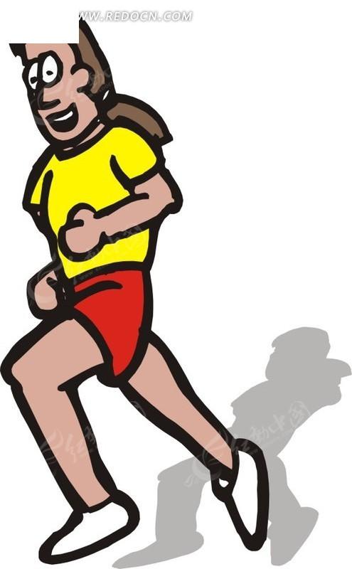 跑步的女孩矢量图_体育运动