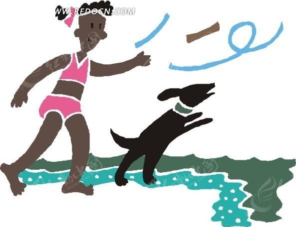 女孩 小狗 木棍 沙滩 海水 海浪 卡通 绘画 插画 手绘  生活百科 矢量