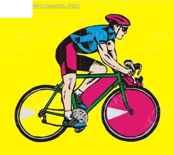 手绘骑自行车的人物