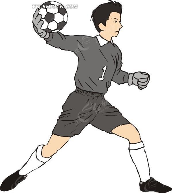 手绘身穿灰色球衣接住足球的守门员矢量图
