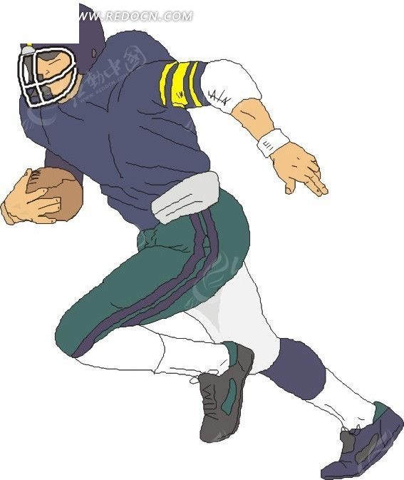 手绘人物抱着橄榄球的人