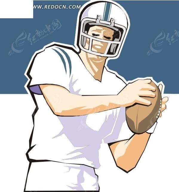 带头盔的橄榄球运动员