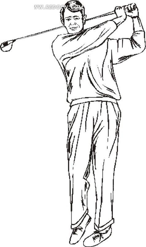 黑色线描手绘挥舞棒球杆的男人矢量图_体育运动