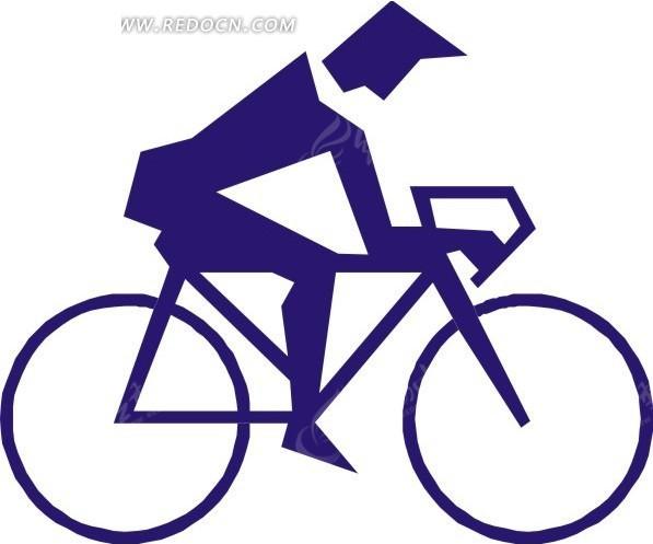 蓝色自行车运动卡通图形