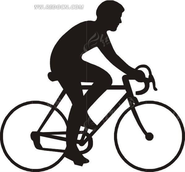 骑自行车   男子  剪影 手绘  插画  卡通画  卡通形象  漫画素材
