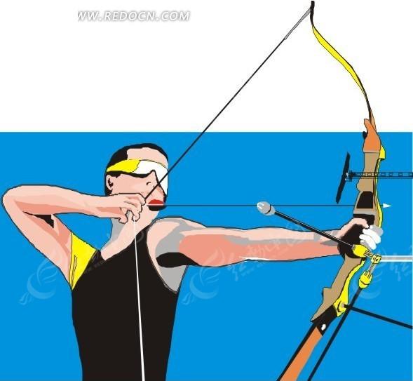 蓝色背景  射箭  男子  手绘  插画  卡通画  卡通形象  漫画素材