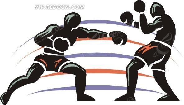拳击比赛卡通画