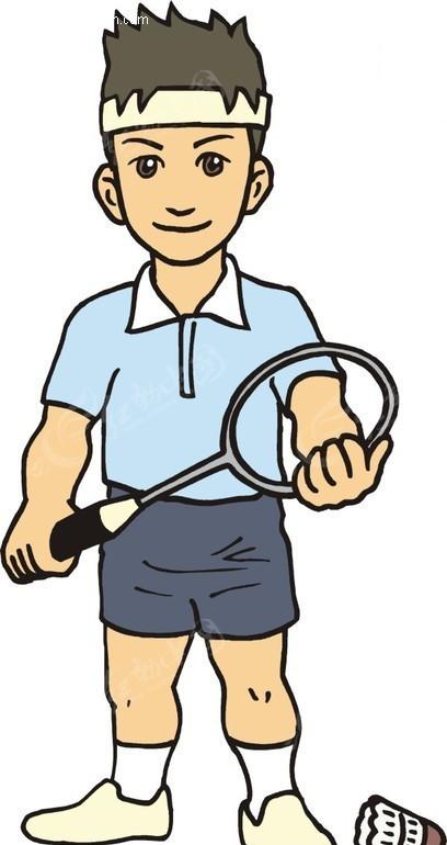 男子羽毛球卡通画矢量图 体育运动