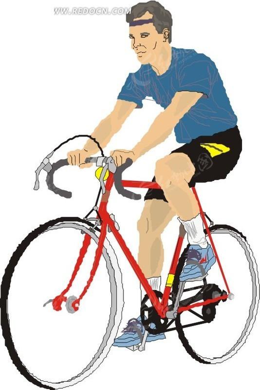 手绘插画骑自行车的男人