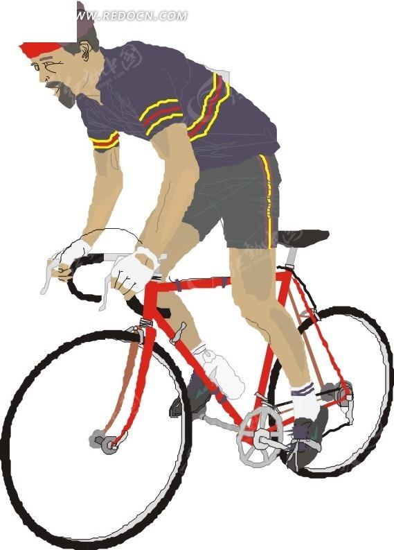 手绘骑红色自行车的人
