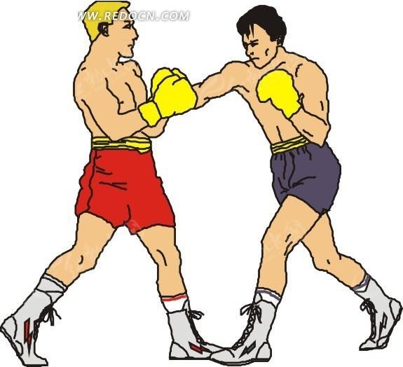 手绘两个打拳的男人