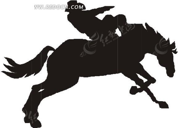 骑马一个手绘的剪影马术矢量图人物斗牛图片