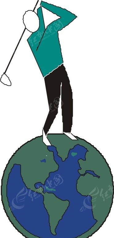 创意手绘地球仪上打高尔夫的人