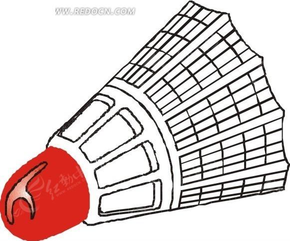 手绘一个红色的羽毛球