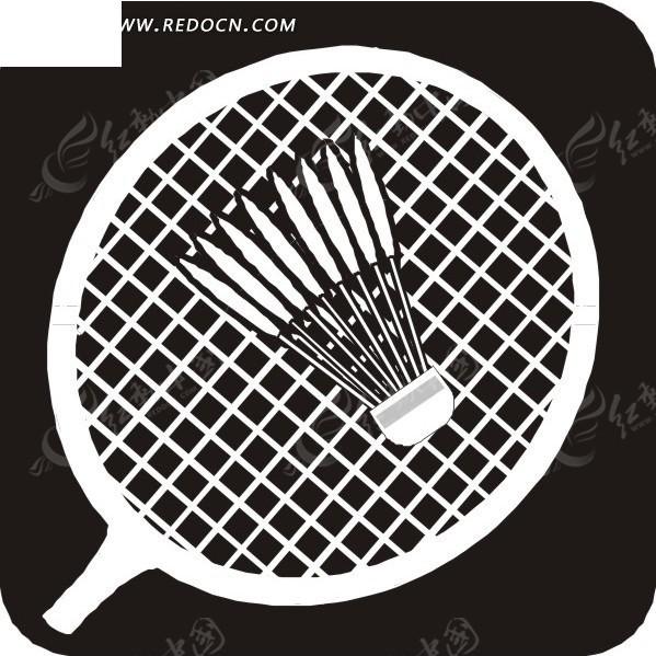 手绘放在羽毛球拍上的羽毛球