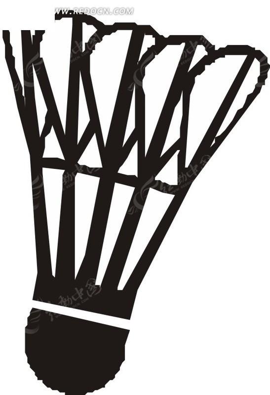 手绘黑色的羽毛球