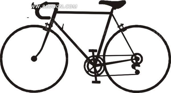 手绘黑色的自行车