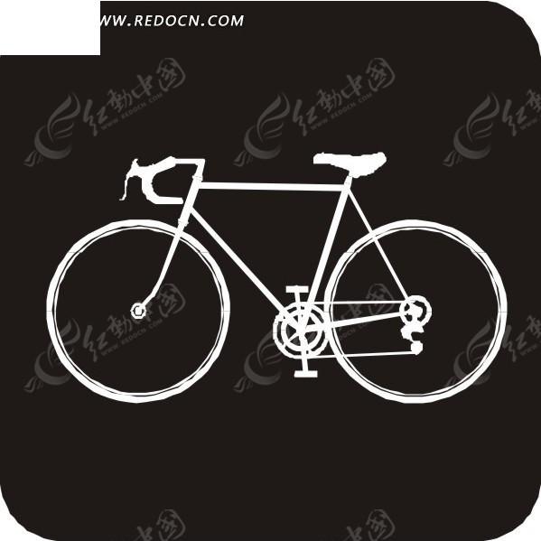 手绘黑底上的白色自行车eps素材免费下载(编号1561815