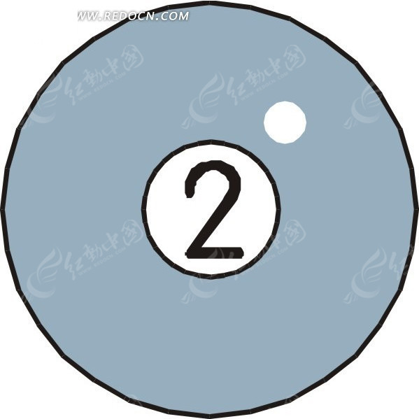 一个2号桌球手绘素材