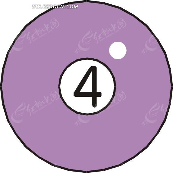 一个4号桌球手绘素材