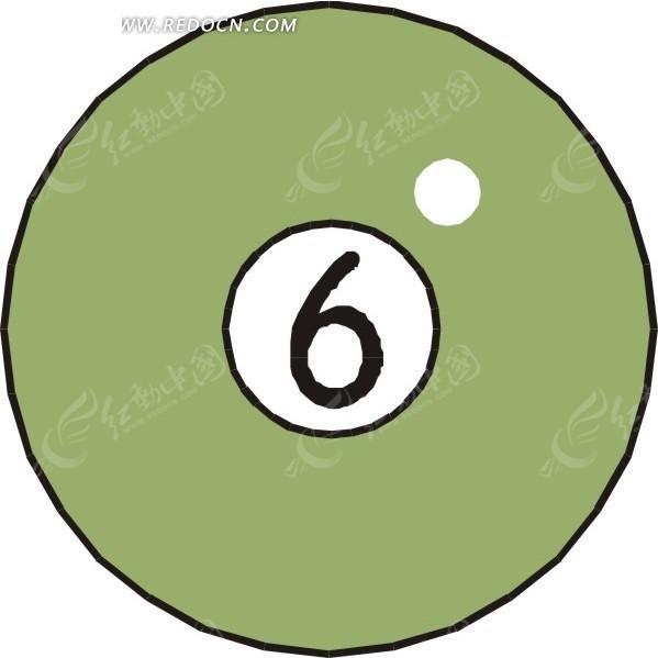 一个6号桌球手绘素材