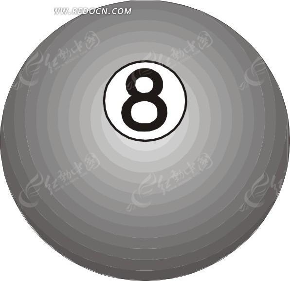 手绘一个灰色的8号桌球