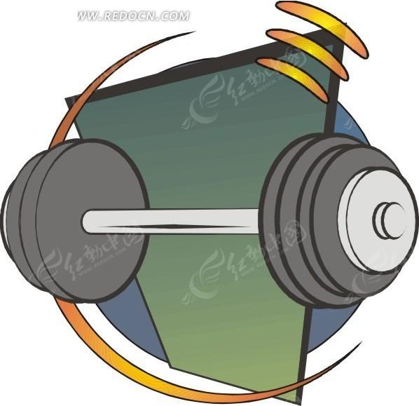 直杠铃 卡通 绘画 插画 手绘 运动器材  生活百科 矢量素材