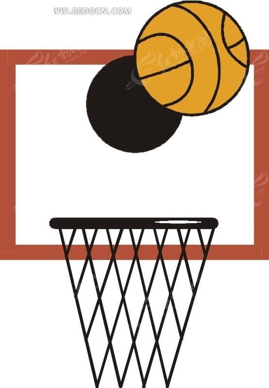 手绘白色篮板和篮框 手绘进入篮框的篮球 手绘黑白篮框上方的篮球