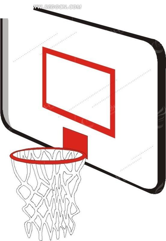 手绘白色篮板和篮框