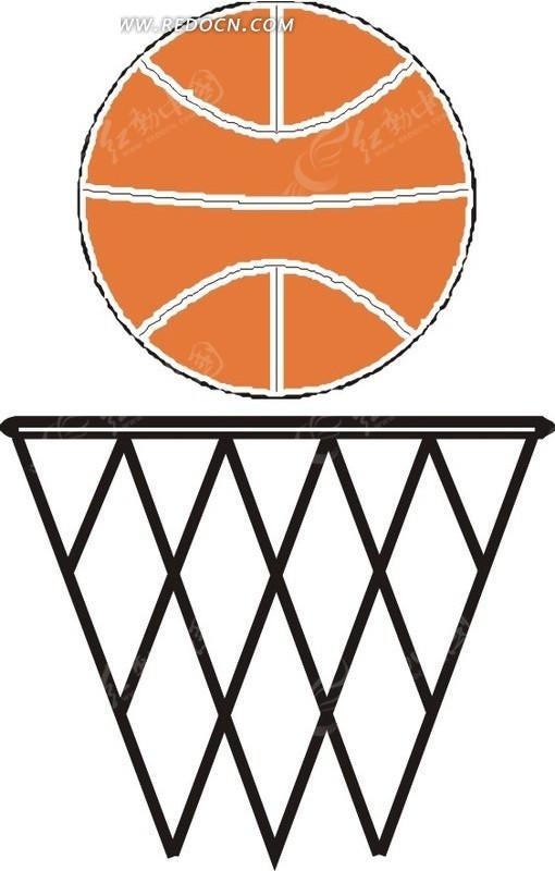手绘篮球框和篮球
