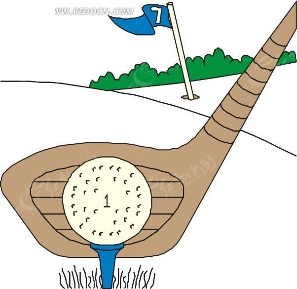手绘高尔夫球后的高尔夫球杆