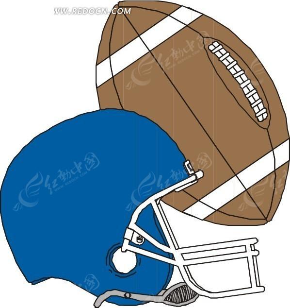 咖啡色橄榄球 蓝色橄榄球帽 美式橄榄球帽 卡通画 插画 手绘 矢量素材