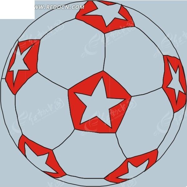 手绘五角星图案足球