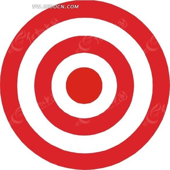 手绘红色圆环靶子