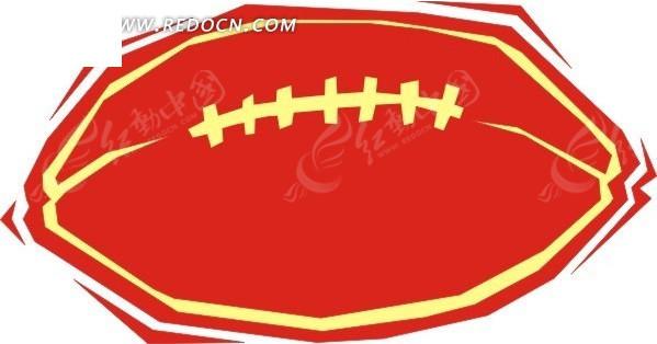 手绘红色橄榄球