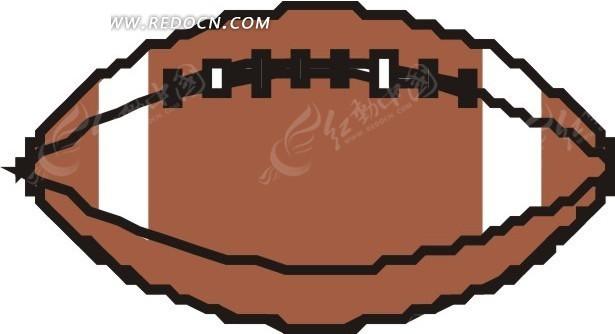 手绘平放着的褐色橄榄球