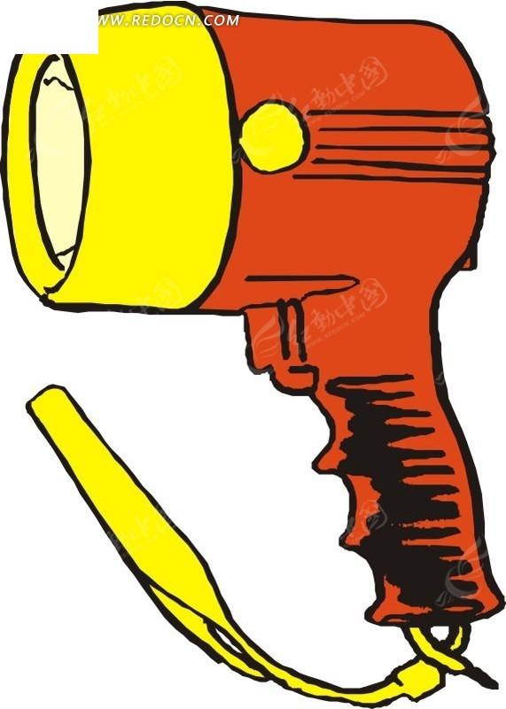 手绘橙黄色扩音喇叭矢量图