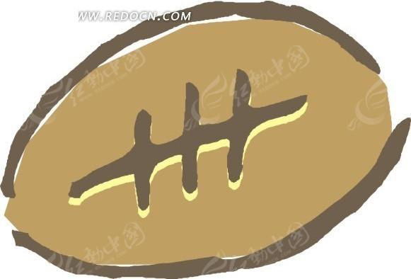 手绘涂鸦橄榄球