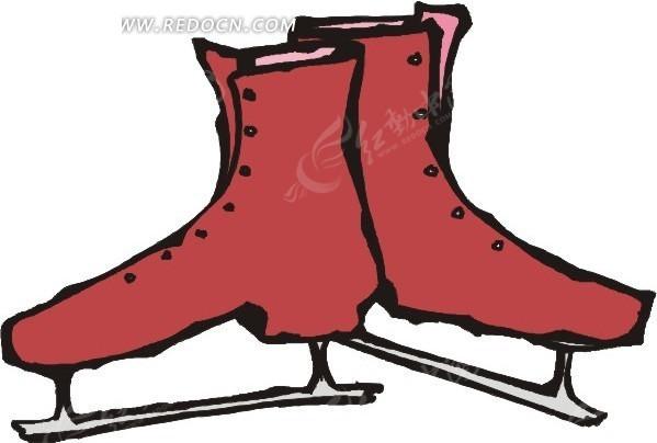 手绘朱红色溜冰鞋