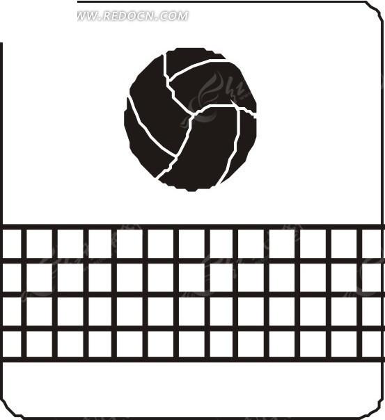 手绘黑白的网和排球