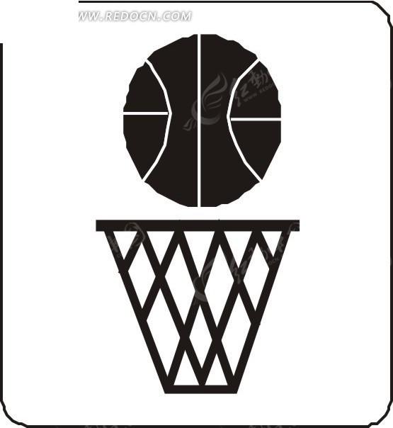 手绘黑白篮框上方的篮球