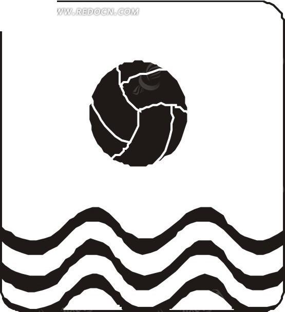 手绘水面上的排球 矢量素材下载 1564729